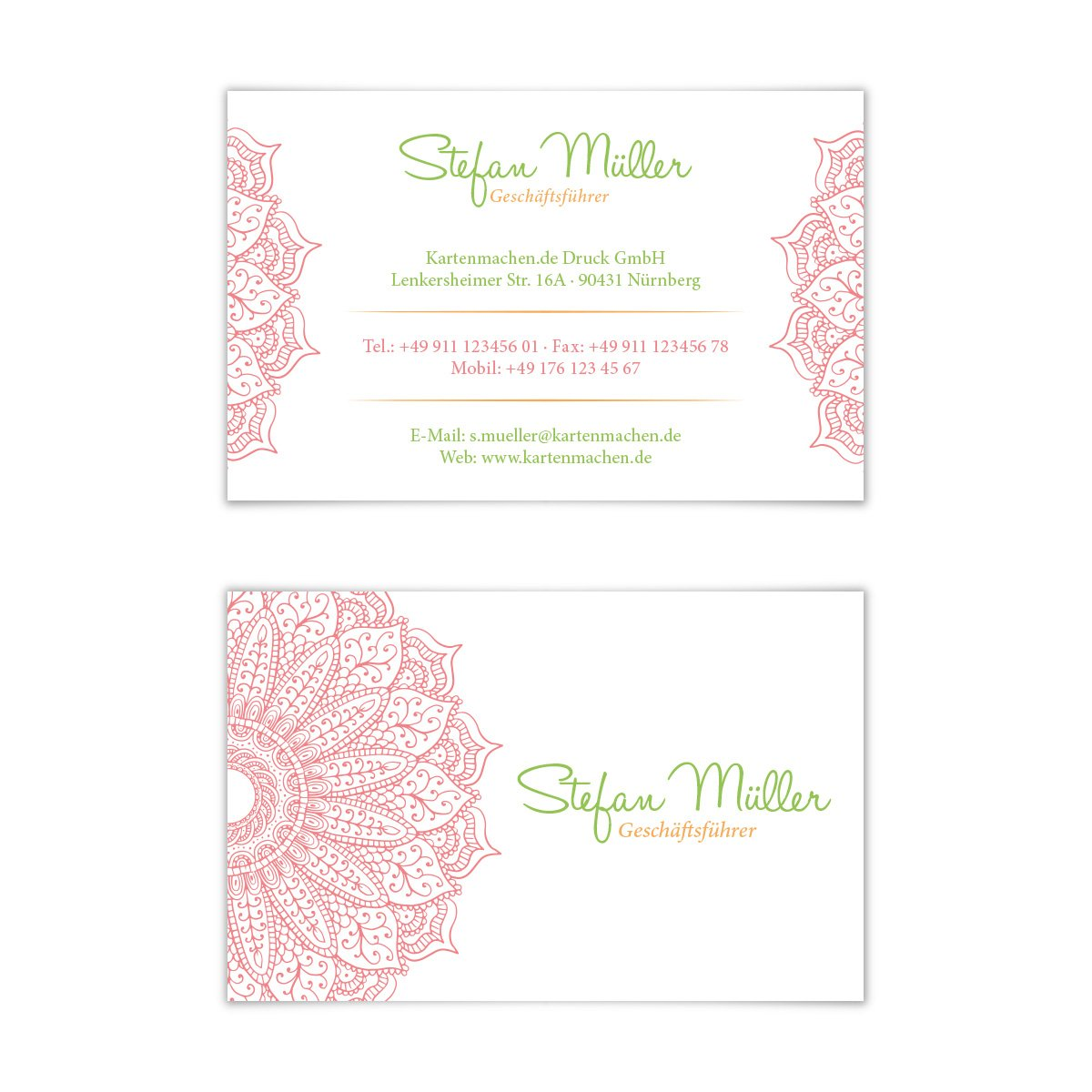 100 x Visitenkarten individuell Business Karten 300g/qm 85 x 55 mm - Erfrischende Blume Kartenmachen.de
