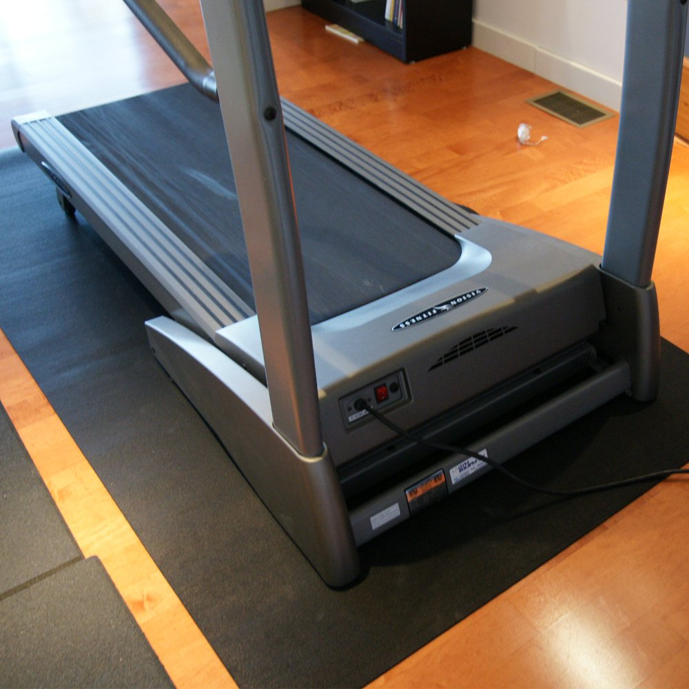 Rubber-Cal Treadmill Mat, Black, 3/16-Inch x 4 x 7.5-Feet
