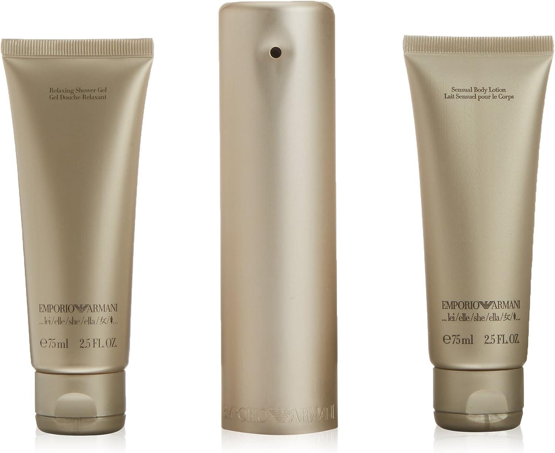Emporio Armani Emporio - Set de eau de parfume (100 ml), gel de ducha (75 ml) y leche de cuerpo (75 ml): Amazon.es: Belleza