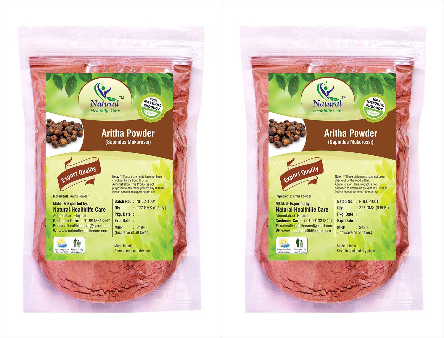 Natural Healthlife Care Aritha Powder, 227 (Pack of 2)