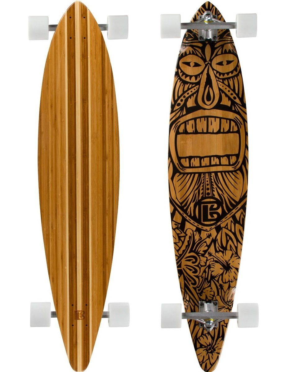 Bamboo Skateboards Hard Good Tiki Man Long Board Complete, 44 x 9.5-Inch, Natural Top (Pintail)