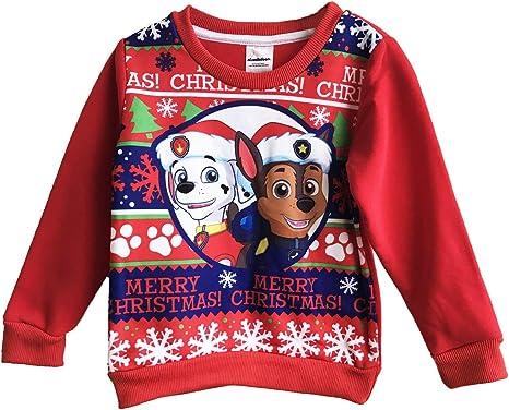 2-3 Years Boys Paw Patrol Chase /& Marshall Festive Christmas Jumper Sweatshirt