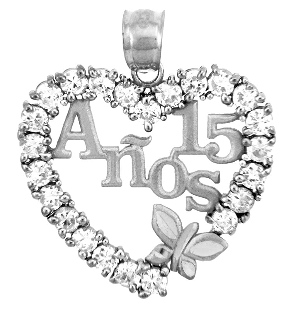 Sterling Silver Sweet 15 Anos Quinceanera Necklace with Cubic Zirconia Heart with Butterfly