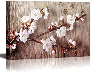 wall26 Canvas Prints Wall Art - A Branch with Cherry Blossom on Vintage Wood Background Rustic Home Decoration - 16
