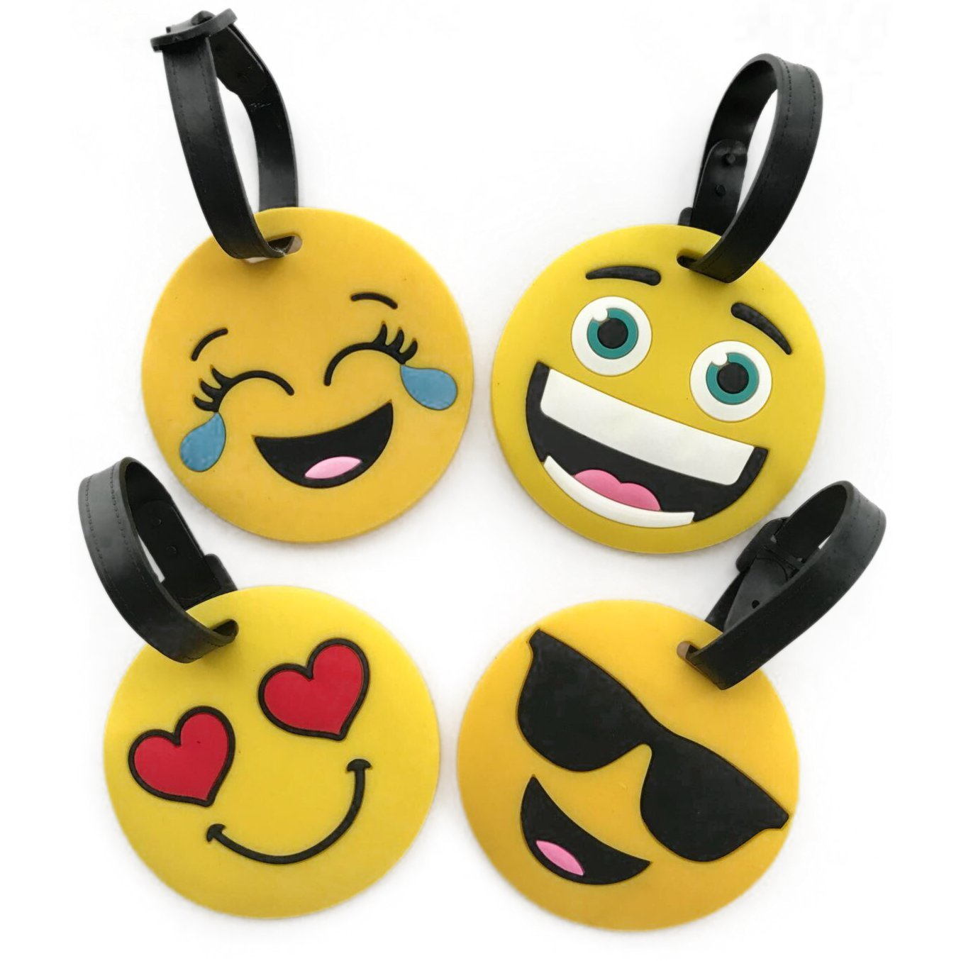 4 packs Emoji luggage tags