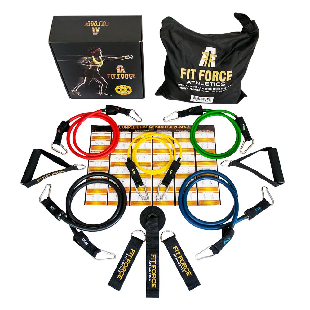 Fit Force Athletics BEST RESISTANCE BANDS Exercise Equipment Workout Set (15 Pcs) - Home Gym Exercise Bands For Travel, Rehab, Crossfit, Pilates, Physical Therapy - Comes With A BEAUTIFUL GIFT BOX by Fit Force Athletics