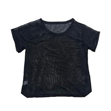 Amazon.com: Camiseta de verano para mujer, de malla, para ...