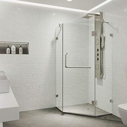 Frameless Corner Glass Shower Doors.Vigo Vg6062bncl38 Piedmont 38 X 38 Inch Clear Glass Corner Frameless Neo Angle Shower Enclosure Hinged Shower Door With Magnalock Technology 304