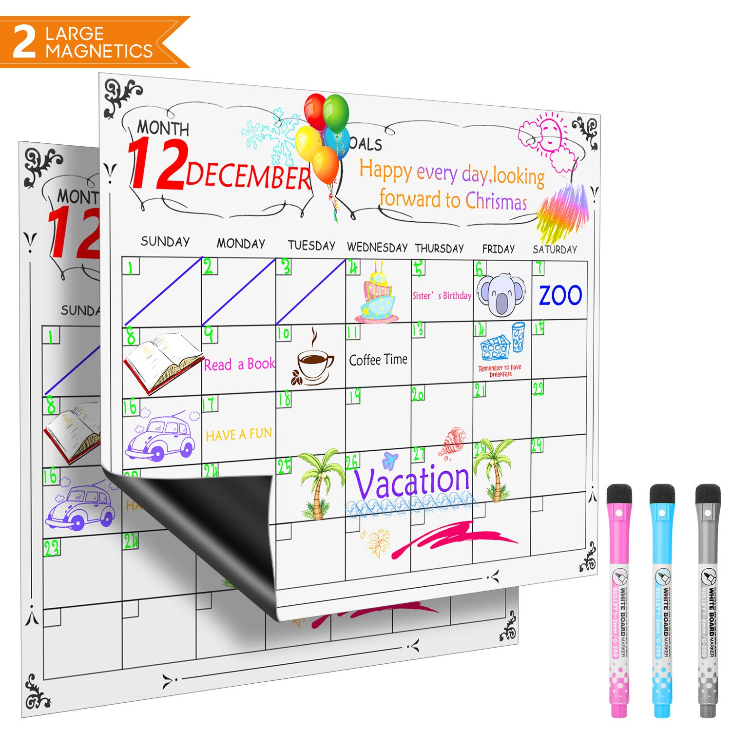 2 Pack Magnetic Dry Erase Calendar, Vogek Monthly Calendar for Refrigerator Large Magnetic Whiteboard with 3 Colored Makers for Smart Planners (2 Pack 16