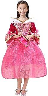 5796525b9364c 眠れる森の美女 プリンセス キッズ コスチューム ワンピース ドレス お姫様 衣装 セット(ドレス ティアラ スティック