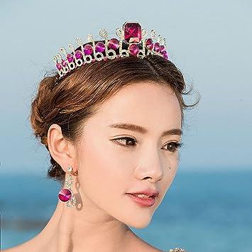 0e70bd8a Jovono Wedding Crown Earring Set And Vintage Queen Baroque Tiara Princess  Headband for Women (Red