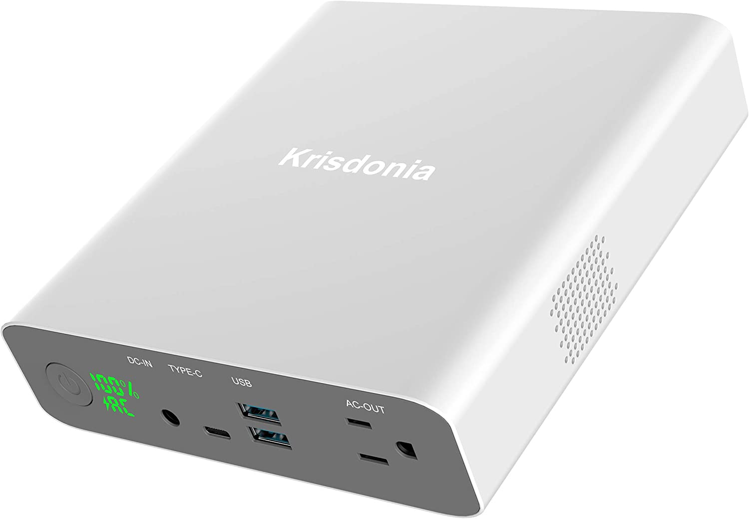 Krisdonia AC Outlet Portable Charger Battery Pack - 27000mAh 130W/110V Travel Power Bank with Built in AC Outlet and 2 QC3.0 USB Ports and Type-C Port for MacBook, Laptop, Smartphone and More