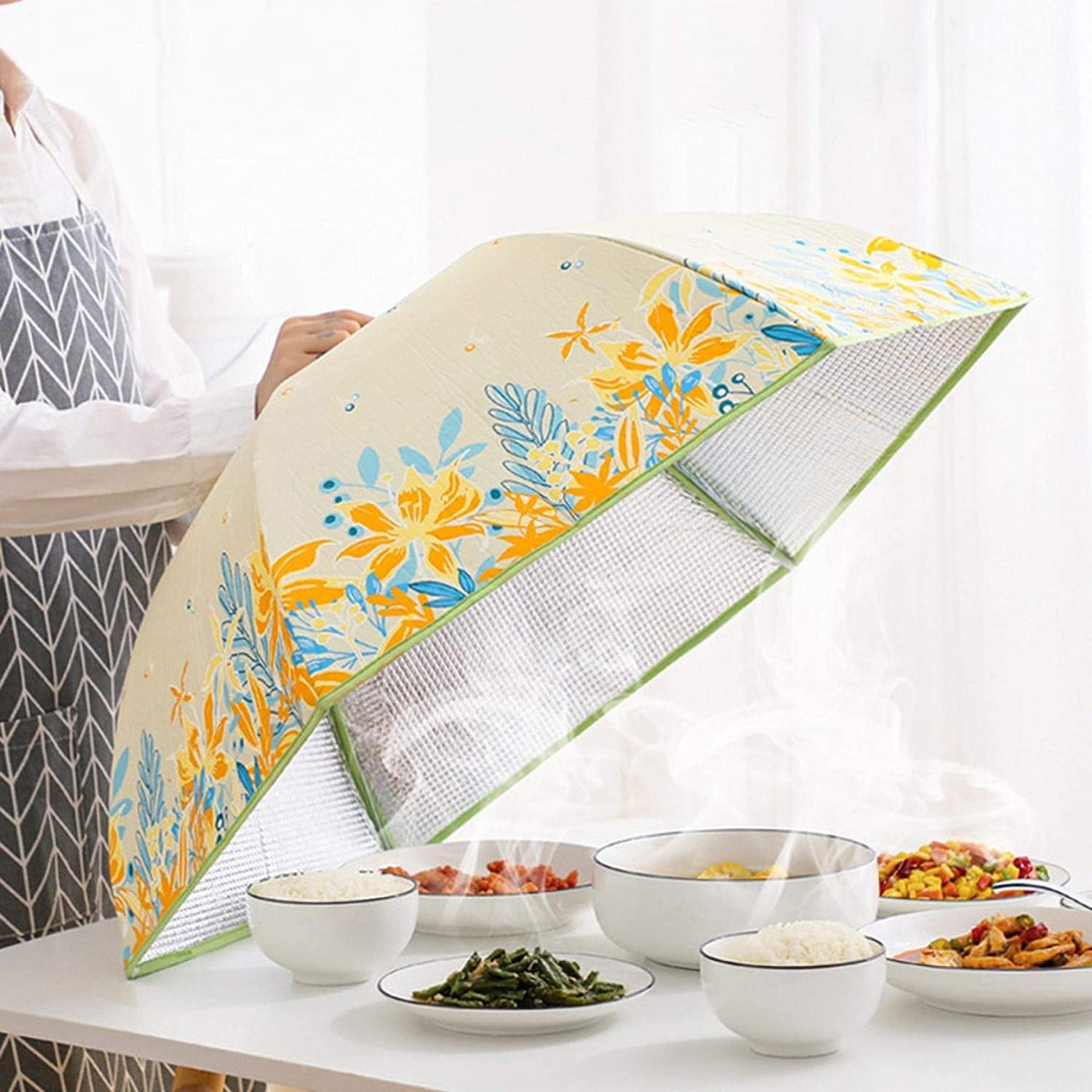Food Dust Cover,Heat Preservation Cover,Kitchen Food Umbrella Cover,Picnic Party Fly Mosquito Mesh Net Tent