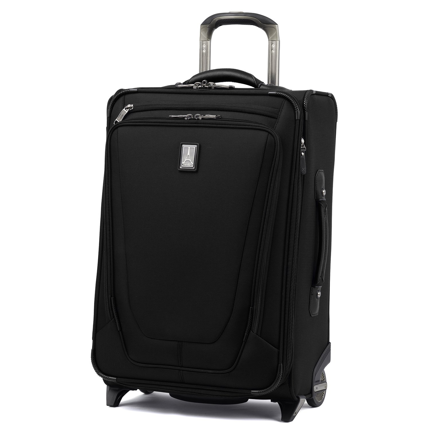 Travelpro Luggage Crew 11 22'' Carry-on Expandable Rollaboard w/Suiter and USB Port, Black by Travelpro