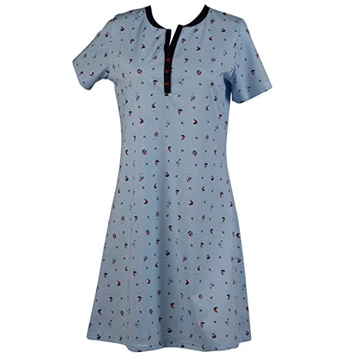 Ladies 100% Cotton Nightdress Short Sleeved Boat   Anchor Pattern Womens  Nightie (Small) a5fcc9e5b