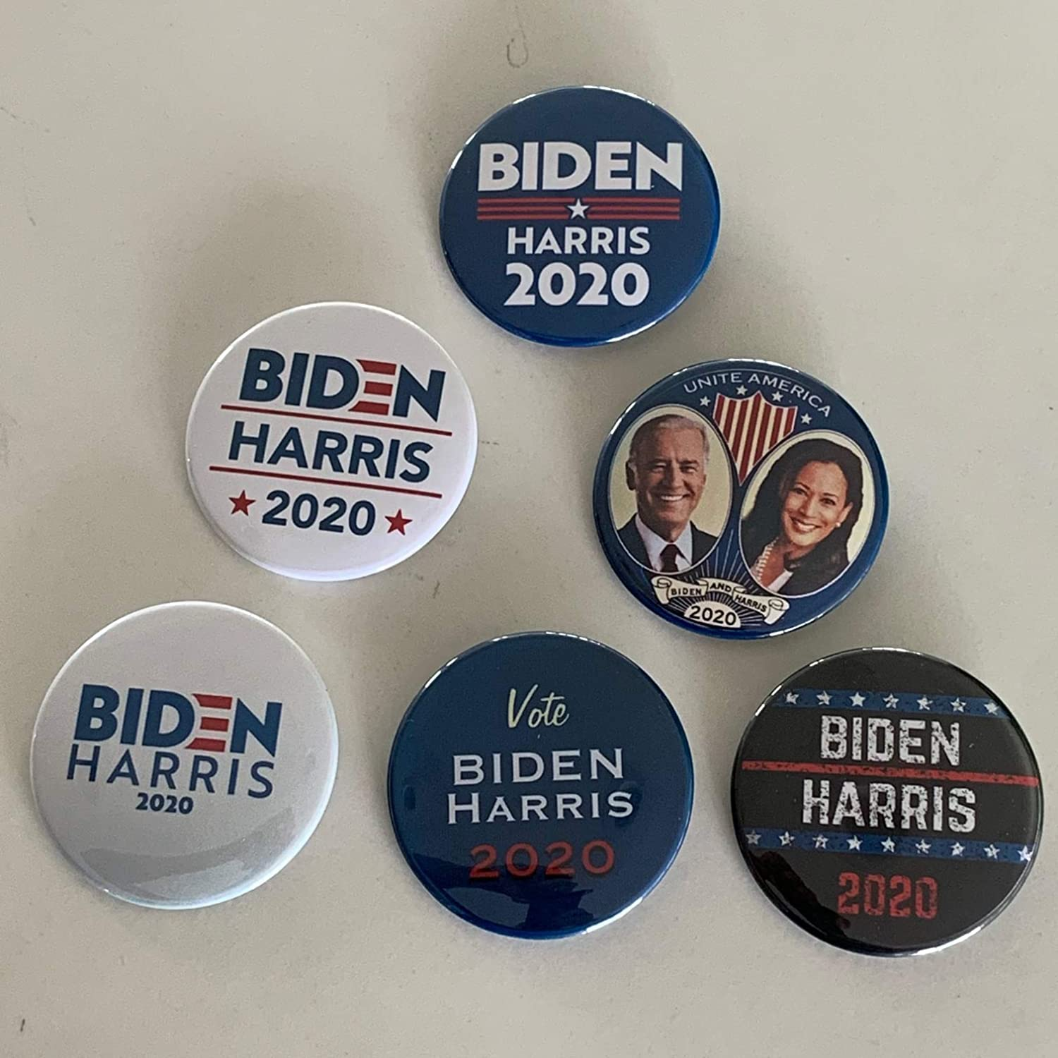 Amazon Com Biden Harris 2020 Set Of 6 Buttons From Presidentialelection Com Joe Biden Kamala Harris 2020 2 25 Inches Clothing