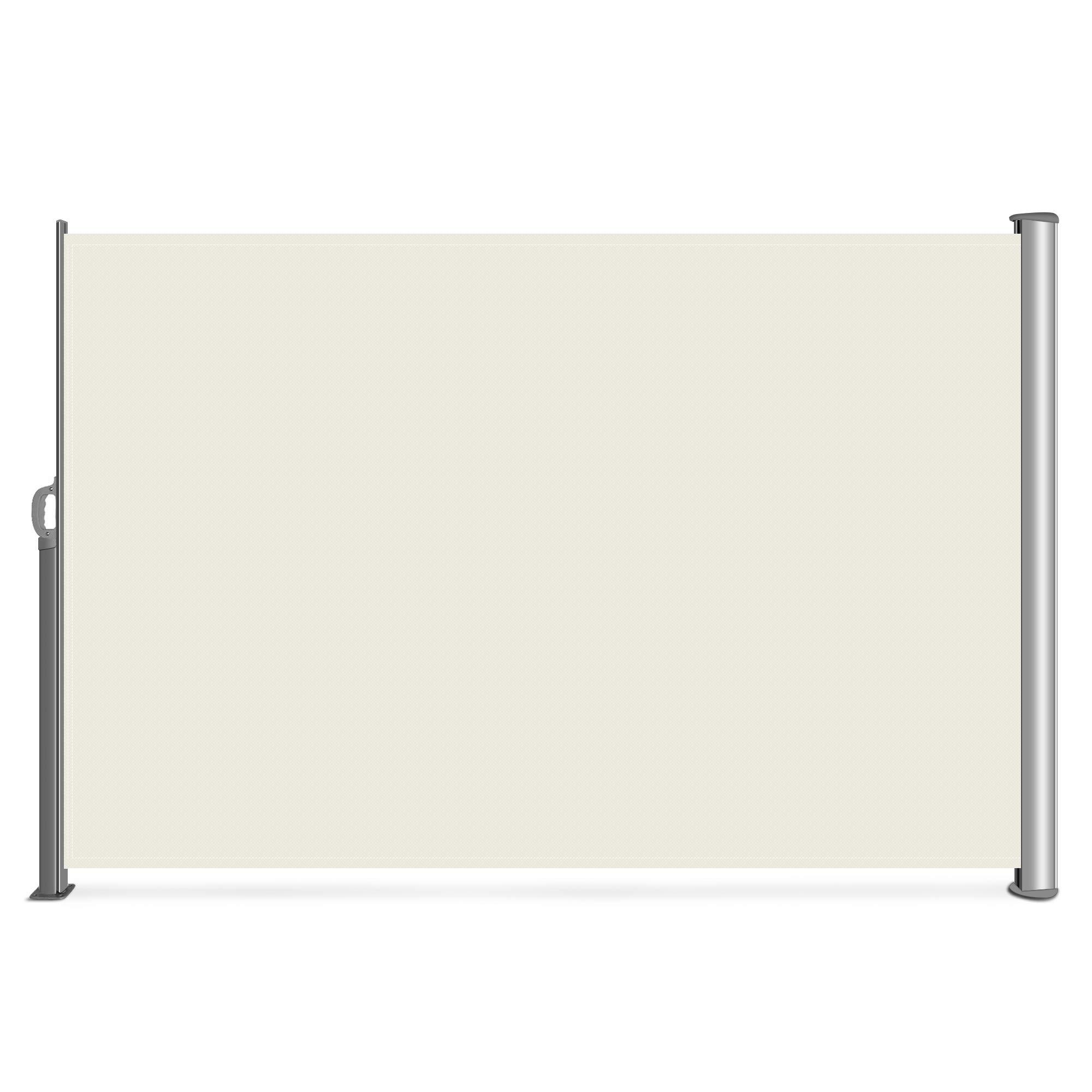 Belleze Retractable Side Awning Patio Waterproof Sun Shade Screen Divider w/Handle (9.8 x 5.2ft), Beige
