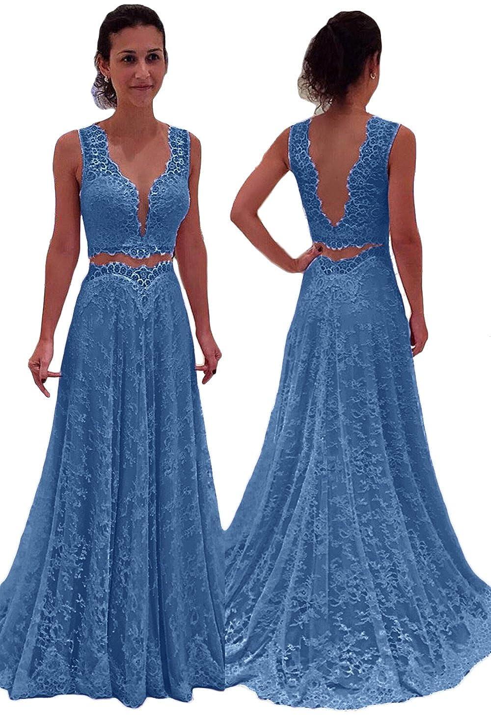 bluee SDRESS Women's Double V Neck 2 Piece Outfits Lace Evening Party Dress Long Prom Dress