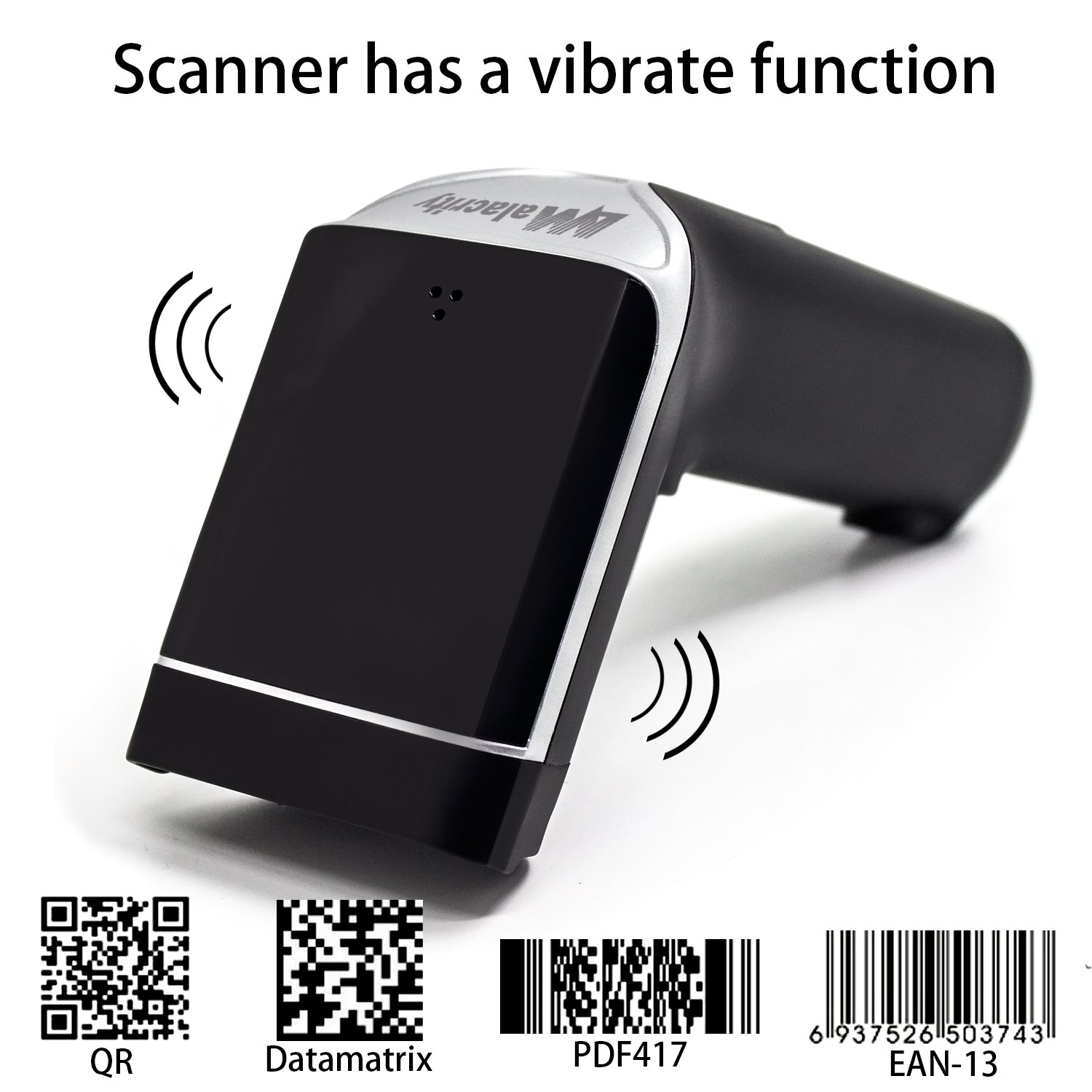 2D Barcode Scanner,Alacrity Wireless USB Portable Bar Code Scanner with Vibration Alert 32-bit Processor - Compatible with Windows, Mac OS, Android, iOS