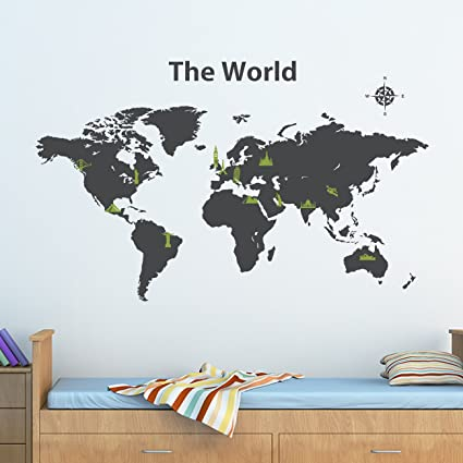Amazon decowall dwg 604cog world map graphic kids wall decals decowall dwg 604cog world map graphic kids wall decals wall stickers peel and stick wall gumiabroncs Image collections