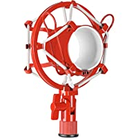 Neewer Pro Metal Microphone Shock Mount Mic Anti-Vibration Holder Clip High Isolation for Suspension Boom Scissor Arm Stand Condenser Mic,Ideal for Studio Radio Broadcasting and Recording(Red)
