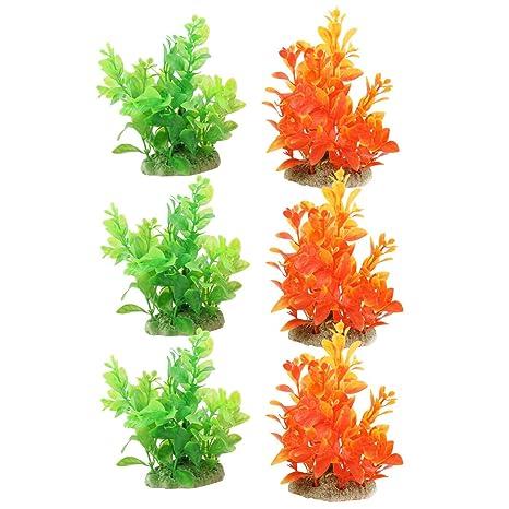 sourcing map Peces de Acuario Cuenco decoración césped Artificial de plástico Naranja, Verde 6pcs