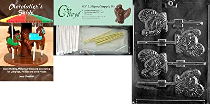 Includes 50 Cello Bags 50 Gold Twist Ties and Chocolate Molding Instructions Cybrtrayd MdK50T-T023 Turkey Puzzle Thanksgiving Chocolate Mold with Chocolate Packaging Kit