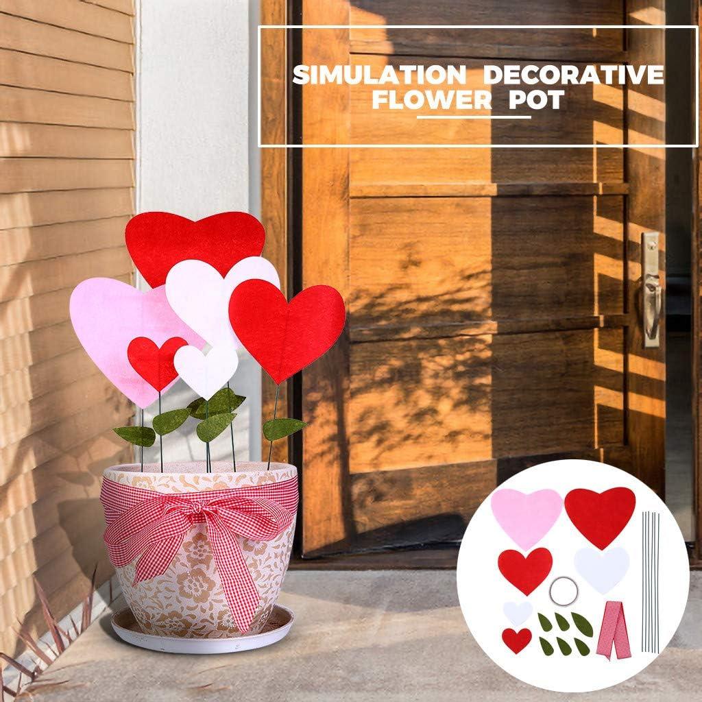 Luccase - Juego de 20 flores y macetas, hecho a mano, diseño creativo hecho a mano, regalo para el día de San Valentín