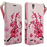 HTC Desire 626 / 626s Case- Magnectic Leather Folio Flip Book Wallet Pouch Case Cover With Fold Up Kickstand and Detachable Wrist Strap for HTC Desire 626 / 626s (Lotus Flower)
