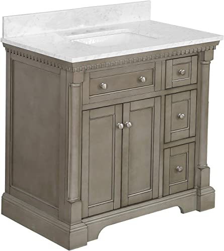 Sydney 36-inch Bathroom Vanity Carrara/Weathered Gray   Includes Weathered Gray Cabinet