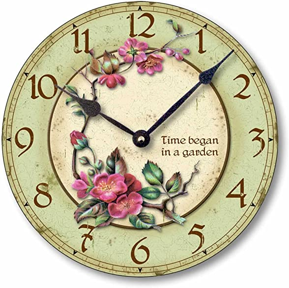 Fairy Freckles Studios Item C7003 Vintage Style 10.5 Inch Time Began in a Garden Clock