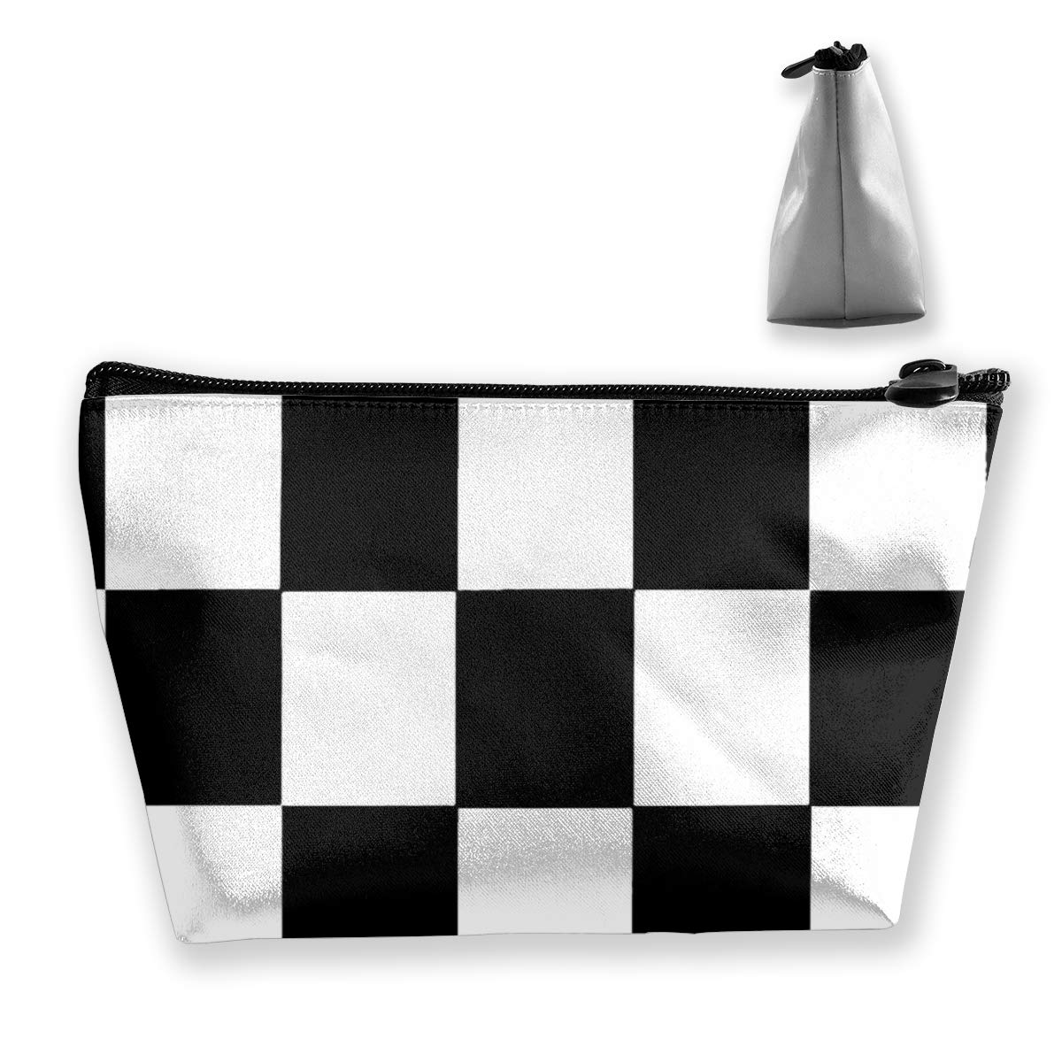 Makeup Bag Black And White Checkered Checkerboard Checkers Cosmetic Cute Pouch Toiletry Travel Bags Organizer Women