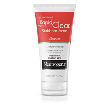 Amazon Com Neutrogena Rapid Clear Stubborn Acne Face Wash With 10 Benzoyl Peroxide Acne Treatment Medicine Daily Facial Cleanser To Reduce Size And Redness Of Acne Benzoyl Peroxide Acne Face Wash 5 Fl