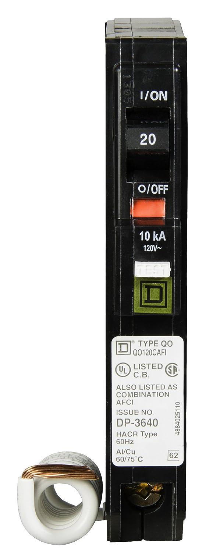 Square D Qo120cafi Qo 20a Arc Fault Breaker Load Centers Fuses Circuit Breakers Ground Interrupters
