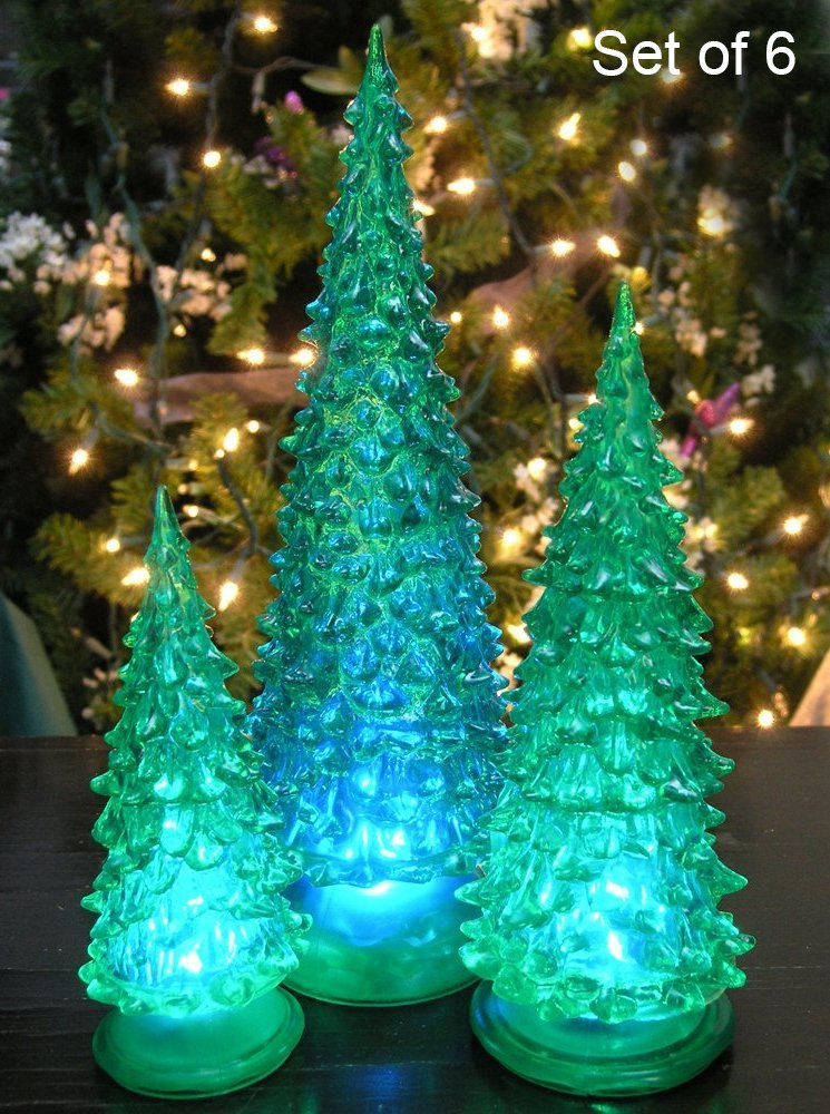 Tabletop Christmas Trees - Set of 6 LED Green Acrylic Christmas Trees - Holiday Decoration - Color Changing Red, Green, Blue - Assorted Sizes 10'', 7.5'' & 5.5''H