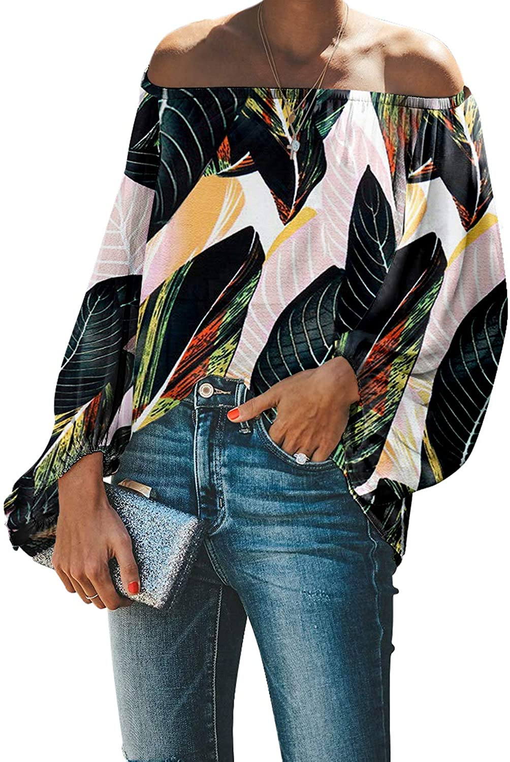 Paitluc Blouses for Women Lantern Sleeve Summer Fashion Off Shoulder Top Size S-2XL