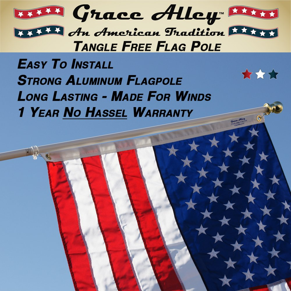 Flag Pole: Tangle Free Spinning Flagpole Residential or Commercial 6ft Flag Pole (White) by Grace Alley (Image #2)