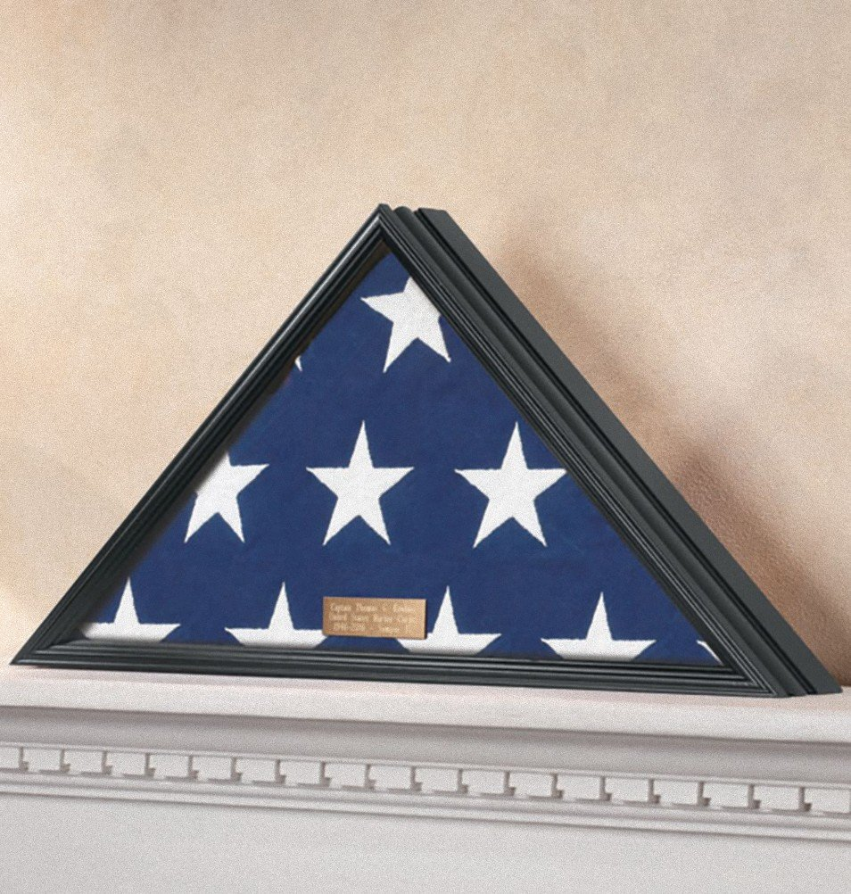 """Personalized Veterans Flag Display Case - Brass Plaque - Fits a Flag Folded to 15"""" X 15"""" X 21"""" - Black or Honey (Black)"""