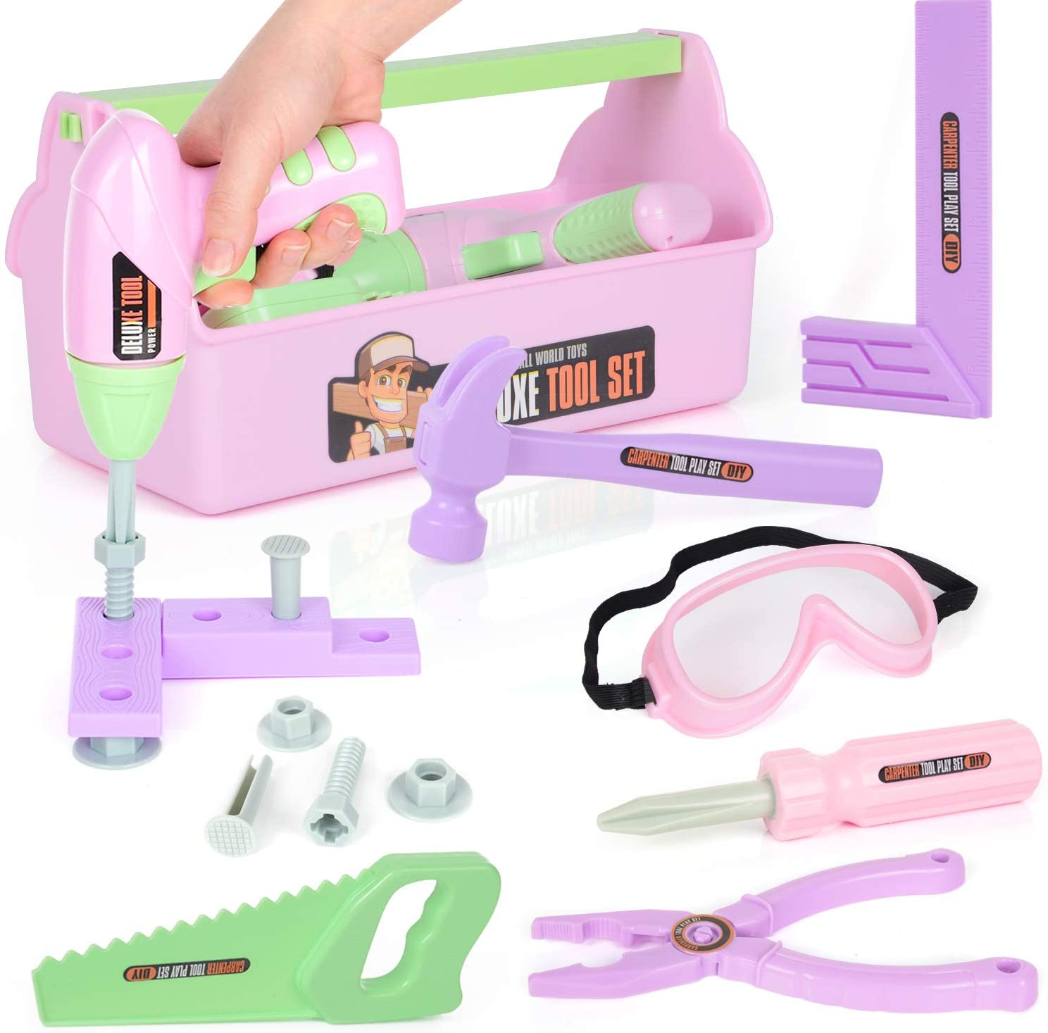 EP EXERCISE N PLAY 18 Pieces Kids Tool Set Pretend Play Construction Tool Accessories with a Tool Box Including Toy Electric Drill (Pink)