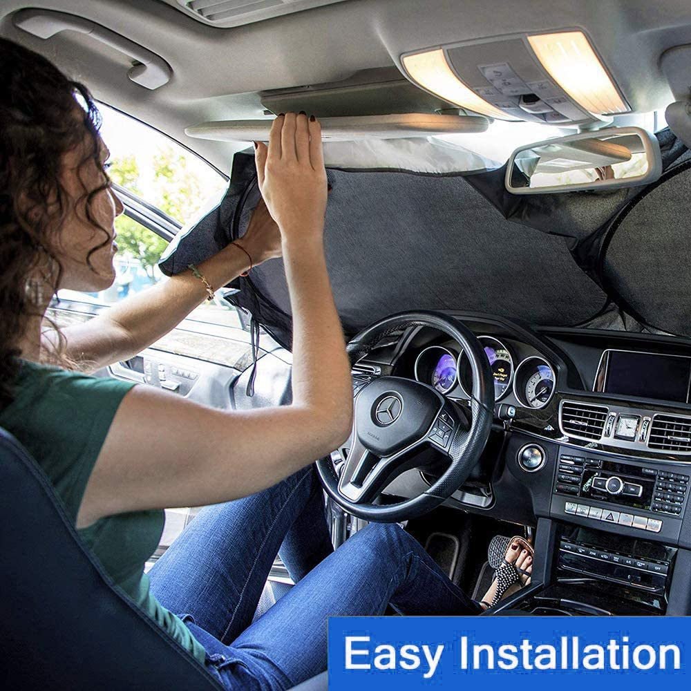 Foldable and Portable Car Front Window Sun Shade Blocks UV Light and Sun Rays -Universal Size for SUV 150cm X 70cm Truck Windshield Sun Shade