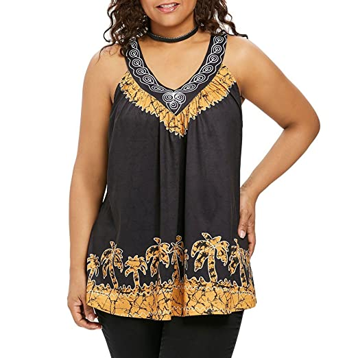 Fashion Womens Plus Size Sleeveless Palm Tree Ethnic Back Lace V Neck Tank  Top Blouse (