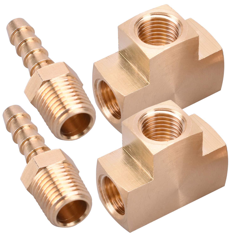 WYNNsky Metals Brass Pipe Fitting Barstock Tee 2 PCS 1//4 x 1//4 x 1//4 NPT Female Pipe 2 PCS 1//4 NPT X 1//4 Hose ID Brass Hose Barb Fittings