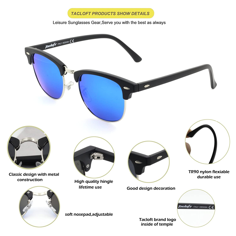 8e1e13faed Tacloft Classic Clubmaster Sunglasses Polarized 51MM Horn Rimmed Sunglasses  Half Frame TL6005 (Black Frame Revo Blue Lens)  Amazon.co.uk  Kitchen   Home