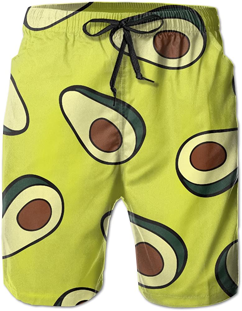 Avocado Pattern Mens Outdoor Quick Dry Boardshorts with Pocket