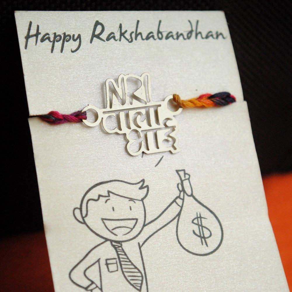 Abhika Creations NRI WALA Bhai Rakhi Unique Metal Rakhi For Brother in US