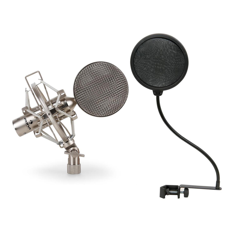 Auna Mikrofon Set 1 x Studiomikrofon Bändchenmikrofon mit Popschutz für warme Sounds und exakte Klangaufnahme (für Vocal- und Gesangsaufnahmen, Vintage-Korpus aus reinem Aluminium, inkl. Mikrofonspinne und 5/8'' auf 3/8''-Stativadapter, Aufbewahrungsbox) s