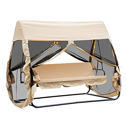 Amazon Com Outsunny 3 Seat Outdoor Covered Convertible Swing Chair