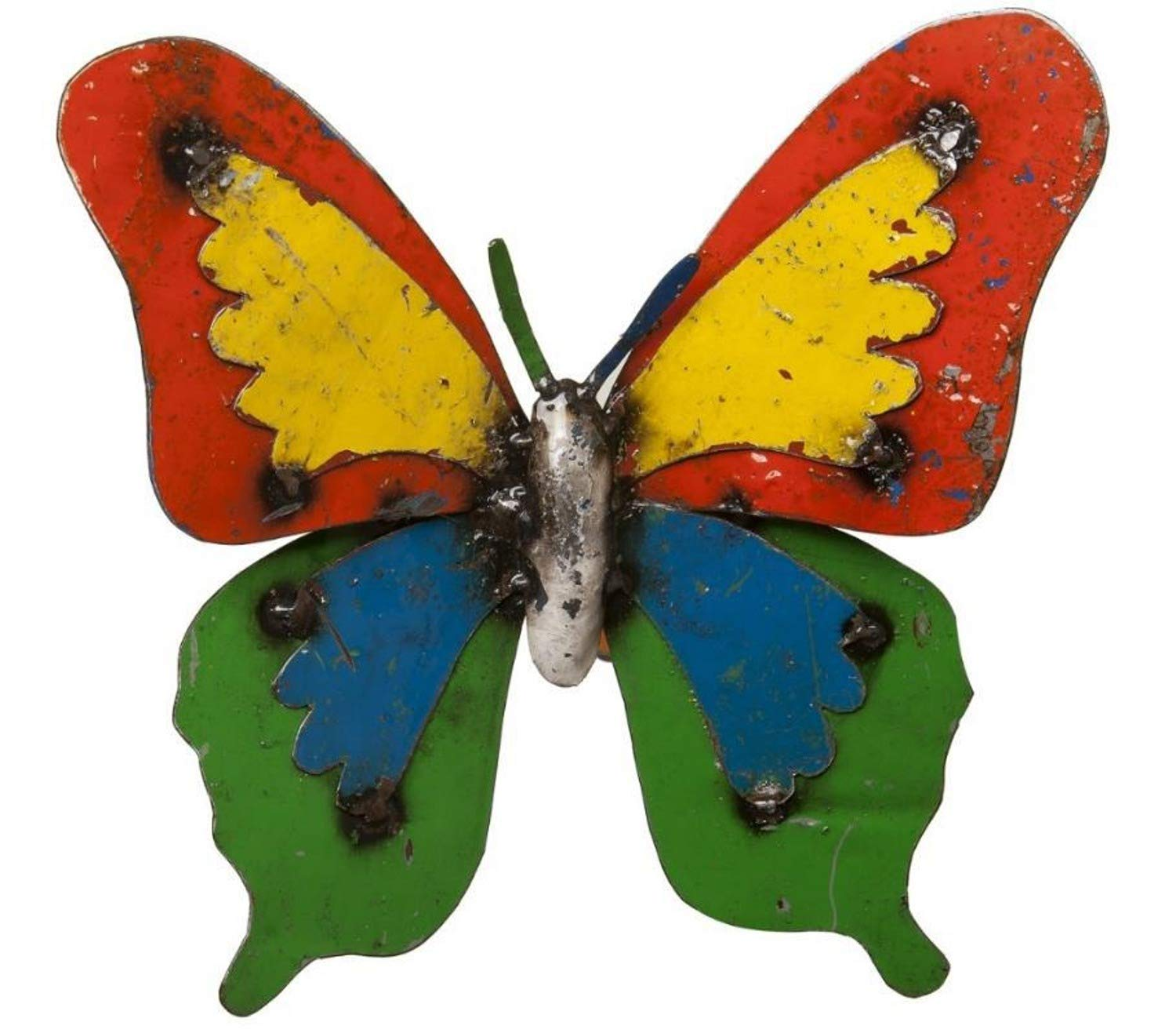 Upcycled Emporium Cheerful Ulysses Butterfly Wall Art Sculpture for Home, Garden, and Outdoor Patio Décor, Handcrafted from Recycled Metals