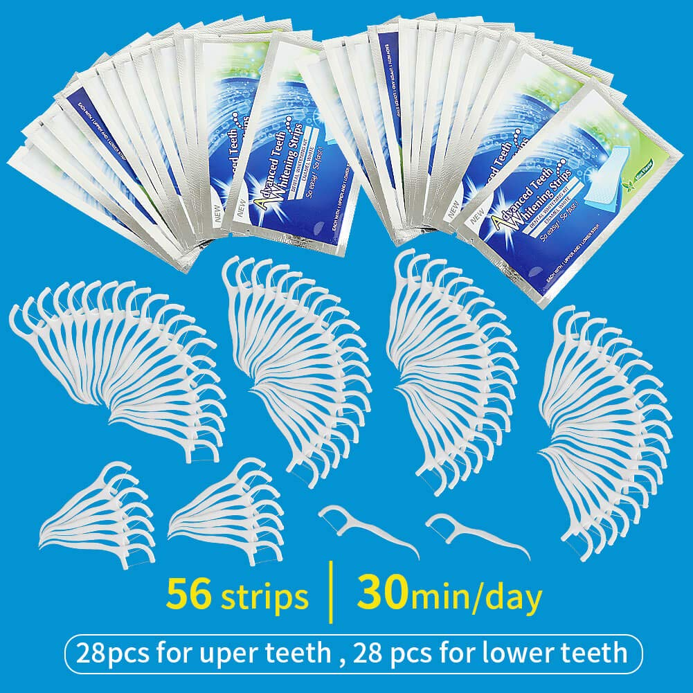 56Pcs Teeth Whitening Strips,3D White strips, Dental Floss 100 Pieces, Interdental Brush, Teeth Stick, Tooth Picks, High Quality Flat Dental Floss Toothpick Teeth Stain Remover
