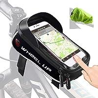 Tricodale Bolsa Bicicleta Cuadro de montaña Impermeable Funda Soporte Mochila móvil Bici Decathlon con desbloqueo Touch-ID para el iPhone Xiaomi Redmi Huawei CUBOT Samsung Galaxy Smartphone - Negro